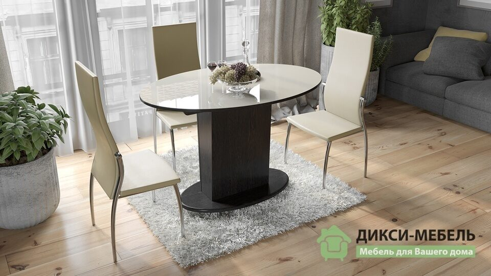 Стол обеденный со стеклом Марсель купить недорого в СПб - интернет-магазин Дикси-Мебель